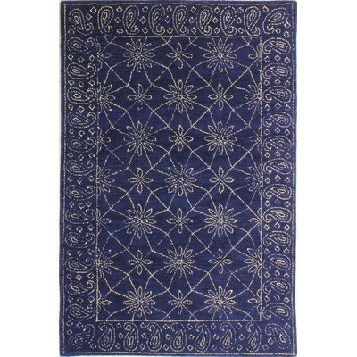Prescot Hand-Tufted Wool Navy Area Rug Rug Size: 5 x 76