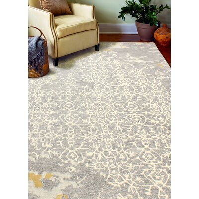 Flori Hand-Tufted Gray Area Rug Rug Size: 6 x 9