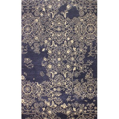 Flori Hand-Tufted Navy Area Rug Rug Size: 6 x 9