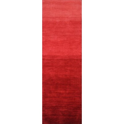 Stokes Hand-Woven Wool Red Area Rug Rug Size: Runner 26 x 8