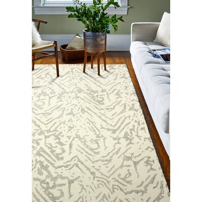 Jared Hand-Tufted White Area Rug Rug Size: 5 x 8