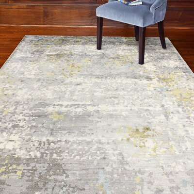 Darlene Hand-Knotted Gray Area Rug Rug Size: 6 x 9