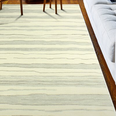 Kelson Hand-Tufted Ivory/Silver Area Rug Rug Size: 9 x 12