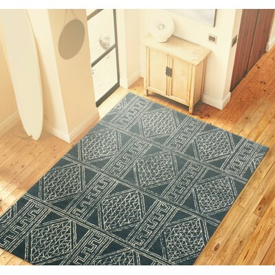 Christian Hand Tufted 100% Wool Blue Area Rug Rug Size: 86 x 116