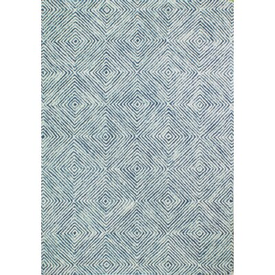 Stasia Hand Tufted 100% Wool Blue/Ivory Area Rug Rug Size: 76 x 96