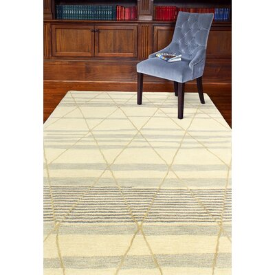 Kelson Hand Tufted Wool Ivory Area Rug Rug Size: 56 x 86