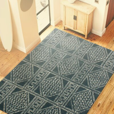 Christian Hand Tufted 100% Wool Blue Area Rug Rug Size: 36 x 56