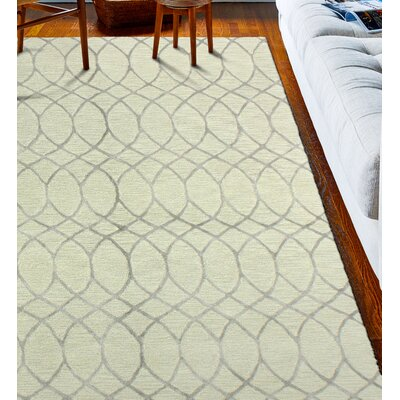 Kelson Hand Tufted Wool Beige Area Rug Rug Size: 86 x 116
