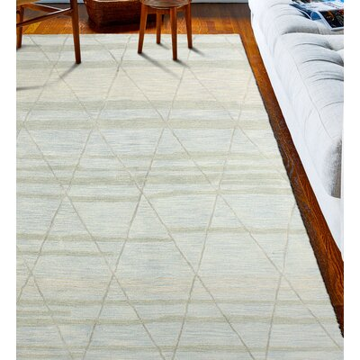 Kelson Hand Tufted Wool Light Blue Area Rug Rug Size: 39 x 59