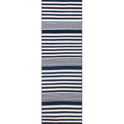 Rockport Ivory & Navy Area Rug Rug Size: Runner 26 x 8
