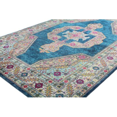 Fidela Azure Area Rug Rug Size: Rectangle 76 x 96