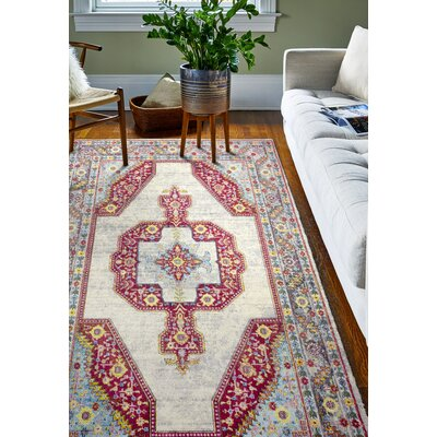 Fidela Ivory/Red Area Rug Rug Size: Rectangle 36 x 56