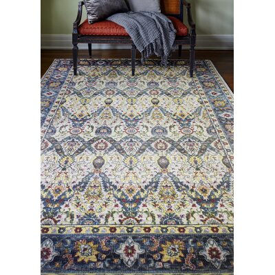 Fidela Ivory/Blue Area Rug Rug Size: Rectangle 86 x 116