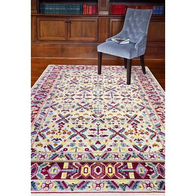 Fidela Ivory/Red Area Rug Rug Size: Rectangle 76 x 96