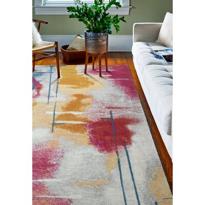 Reasor Red/Yellow Area Rug Rug Size: Rectangle 5 x 76
