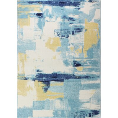 Reasor Ivory/Blue Area Rug Rug Size: Runner 26 x 8