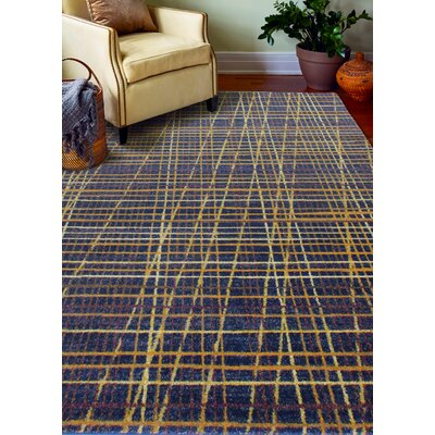 Bessler Navy/Yellow Area Rug Rug Size: Rectangle 76 x 96