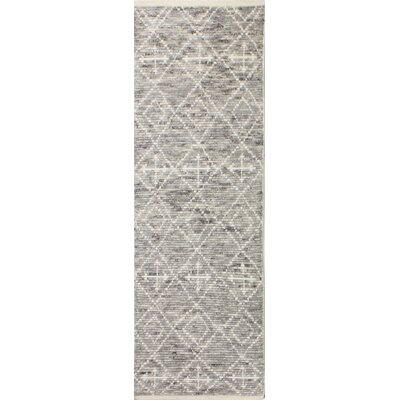 Gisselle Hand-Knotted Wool Gray Area Rug Rug Size: Runner 26 x 8