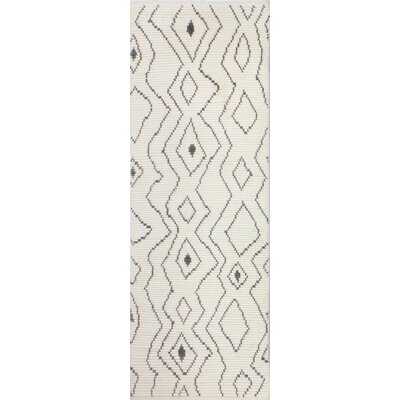 Gisselle Hand-Knotted Wool Ivory Area Rug Rug Size: Runner 26 x 8