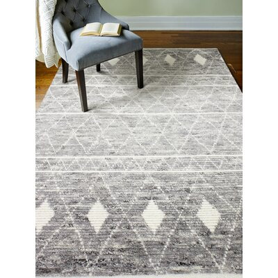 Gisselle Hand-Knotted Wool Gray Area Rug Rug Size: Rectangle 76 x 96