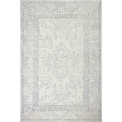 Glenside Hand-Tufted Wool Ivory/Gray Area Rug Rug Size: Rectangle 76 x 96