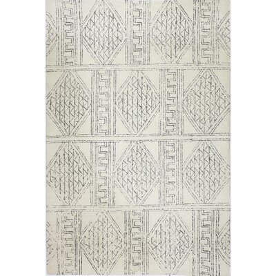 Glenside Hand-Tufted Wool Ivory/Gray Area Rug Rug Size: Rectangle 5 x 76