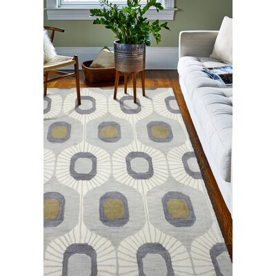 Hara Hand-Tufted Wool Silver Area Rug Rug Size: Rectangle 5 x 7.6