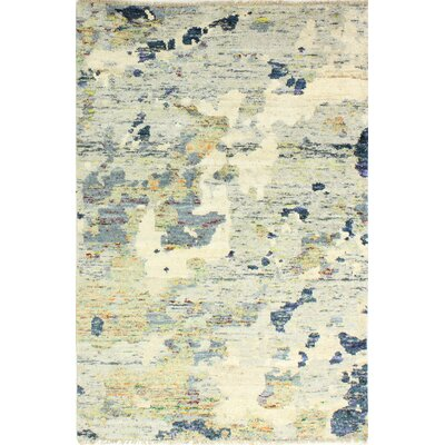 Jagtap Hand Knotted Cotton Ivory/Gray Area Rug Size: Rectangle 86 x 116