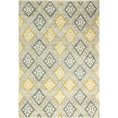 Hylan Hand Knotted Cotton Beige/Gold Area Rug Size: Rectangle 76 x 96