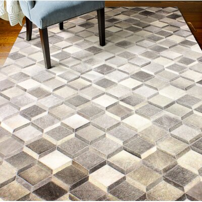 Breton Hide Hand-Woven Gray/Cream Area Rug Size: Rectangle 9 x 12