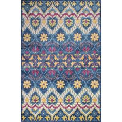 Goldie Traditional Navy Floral Area Rug Rug Size: Rectangle 5 x 7 8