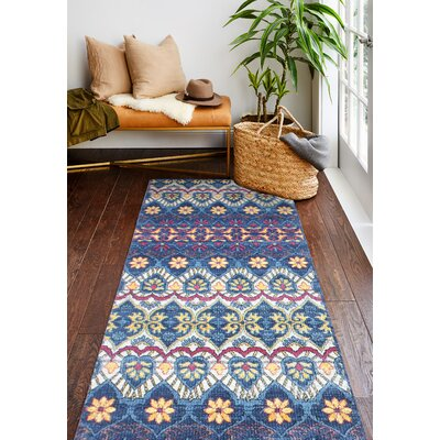 Goldie Traditional Navy Floral Area Rug Rug Size: Runner 27 x 8
