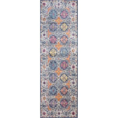 Goldie Traditional Navy Area Rug Rug Size: Runner 27 x 8