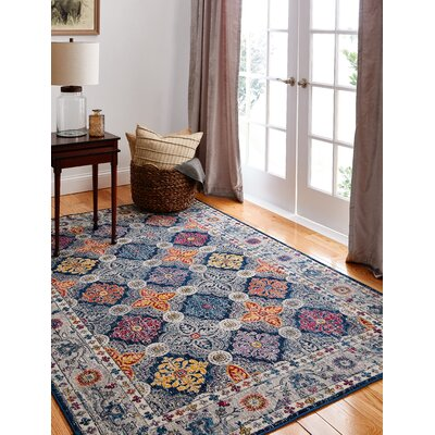 Goldie Traditional Navy Area Rug Rug Size: Rectangle 9' x 12'
