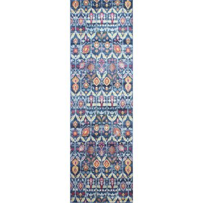 Goldie Navy Floral Area Rug Rug Size: Runner 27 x 8