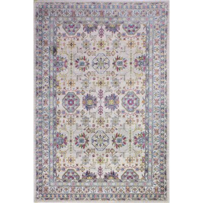 Goldie Traditional Ivory Floral Area Rug Rug Size: Rectangle 5 x 7 8