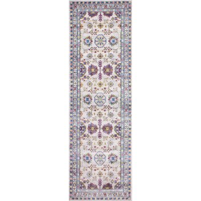 Goldie Traditional Ivory Floral Area Rug Rug Size: Runner 27 x 8