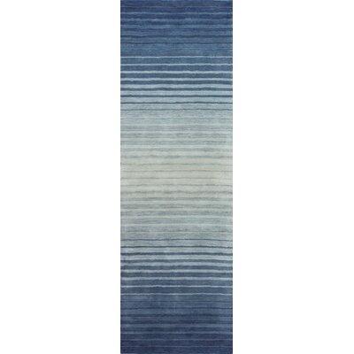 Napoleon Handmade Wool Blue Area Rug Rug Size: Runner 27 x 8