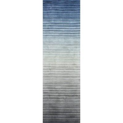 Napoleon Handmade Wool Gray/Blue Area Rug Rug Size: Runner 26 x 8