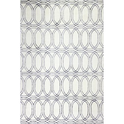 Leto Hand Tufted Cotton White/Slate Area Rug Rug Size: Rectangle 9 x 12