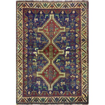 One-of-a-Kind Hartin Hand Woven Wool Dark Blue Area Rug