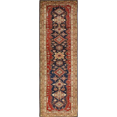 One-of-a-Kind Harrod Hand Woven Wool Dark Blue/Red/Beige Area Rug