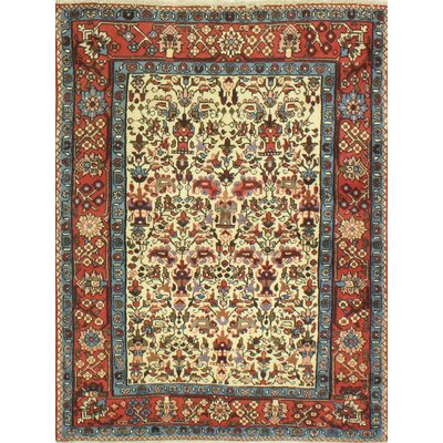 One-of-a-Kind Haslett Hand Woven Wool Ivory/Red/Blue Area Rug