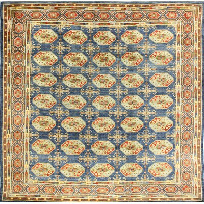 One-of-a-Kind Hartland Hand Woven Wool Light Blue/Yellow Area Rug