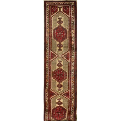 One-of-a-Kind Hashimoto Hand Woven Wool Camel/Red Area Rug