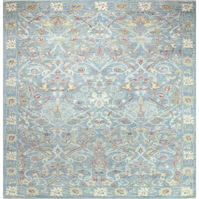 One-of-a-Kind Hartzell Hand Woven Wool Light Blue Area Rug