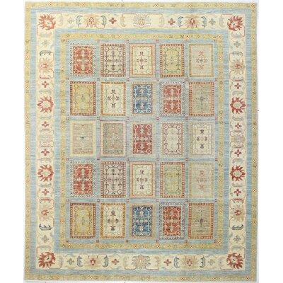 One-of-a-Kind Hartness Hand Woven Wool Light Blue Area Rug