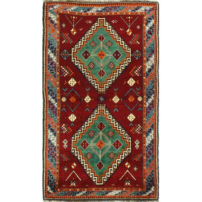 One-of-a-Kind Hartin Hand Woven Wool Red Area Rug