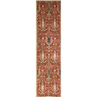 One-of-a-Kind Hartness Hand Woven Wool Rust/Beige Area Rug