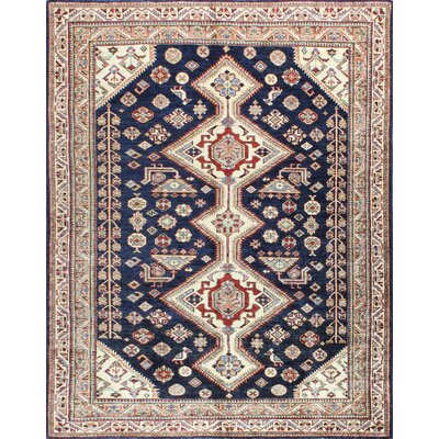 One-of-a-Kind Harrod Hand Woven Wool Dark Blue/Beige Area Rug